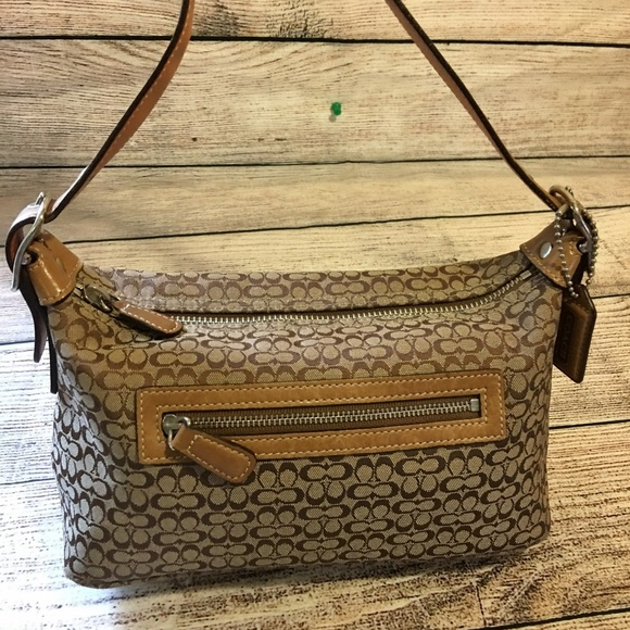 Coach Handbags - COACH Brown MINI C Signature Canvas Jacquard Hobo